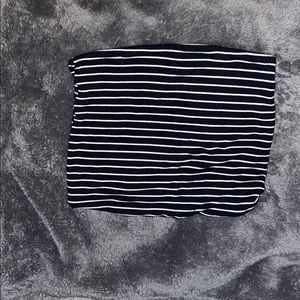 white and black striped tube top